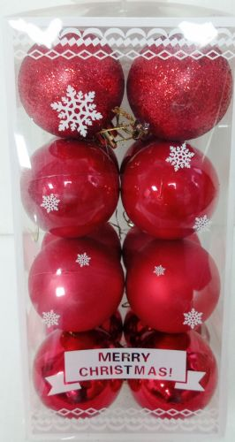Bauble 16 Pack Red